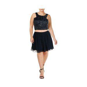 B. Darlin Womens 2 PC Sequined Crop Top Dress